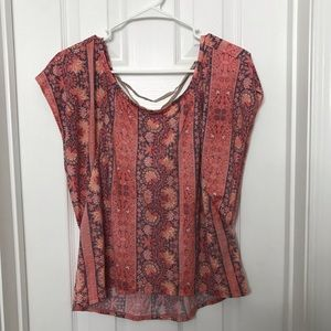 American Eagle Floral Coral Lace Up Back Shirt